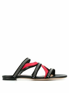 Alexander McQueen suede and nappa leather Cage sandals - Black
