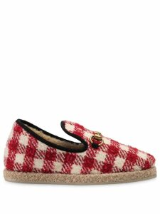 Gucci tweed horsebit loafers - Red