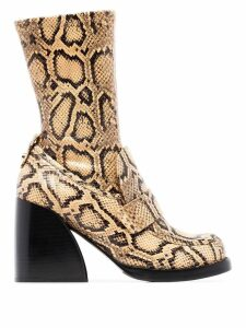 Chloé Adelie 90mm snake-effect boots - Wheat Yellow