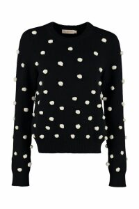 Tory Burch Tricot Sweater With Pom-poms