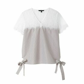 Laced Striped Cotton Blouse with Bows