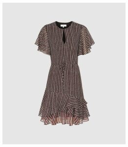 Reiss Anna - Printed Day Dress in Berry, Womens, Size 16