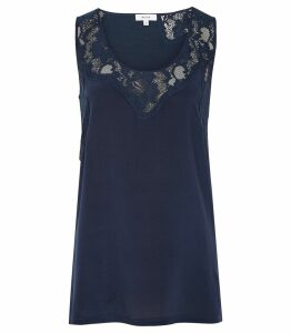 Reiss Adonia - Lace Insert Sleeveless Top in Navy, Womens, Size L