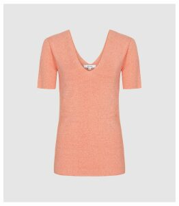 Reiss Ada - V-neck Knitted Top in Coral, Womens, Size XXL