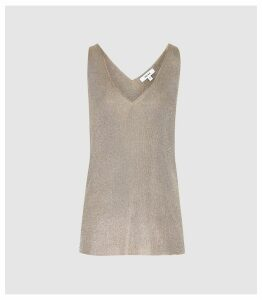 Reiss Alexis - Metallic Knitted Top in Silver, Womens, Size XXL