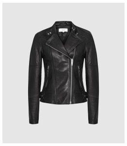 Reiss Tallis - Leather Biker Jacket in Black, Womens, Size 14