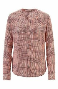 Lightweight blouse in pure silk with irregular check