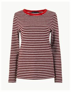 M&S Collection Pure Cotton Straight Fit Long Sleeve Top