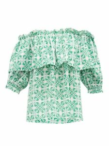 Beulah - Ridhi Tile-print Off-shoulder Silk Top - Womens - Green