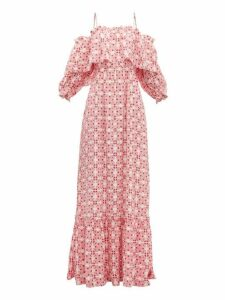 Beulah - Aakash Off-shoulder Tile-print Silk Dress - Womens - Pink Multi