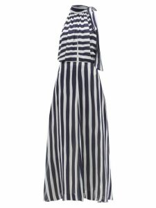 Odyssee - Beau Striped Chiffon Maxi Dress - Womens - Navy