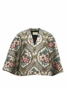 Gucci - Floral Brocade Cape - Womens - Grey