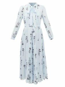 Valentino - V-logo Jacquard Satin-back Silk-chiffon Shirt - Womens - Navy