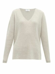 Allude - Ribbed V-neck Cashmere Sweater - Womens - Light Grey