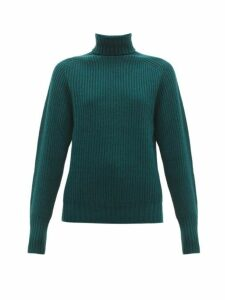 Officine Générale - Amanda Roll Neck Ribbed Lambswool Sweater - Womens - Dark Green