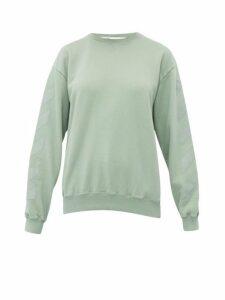 Off-white - Logo Print Loop Back Cotton Jersey Sweatshirt - Womens - Green