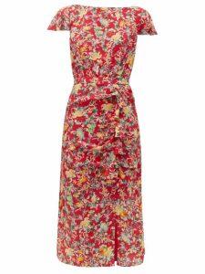 Saloni - Heather Floral-print Silk Dress - Womens - Red Multi