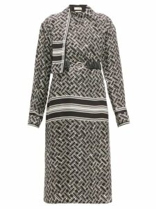 Bottega Veneta - Patterned Drape Neck Silk Twill Wrap Dress - Womens - Black White