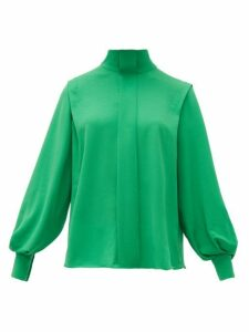 Emilia Wickstead - Brunhilda Bow-tie Crepe Blouse - Womens - Green