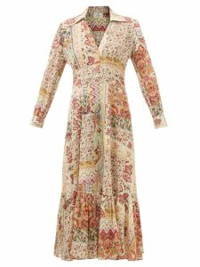 Galvan - Stardust Plunge-neck Sequinned Gown - Womens - Gold