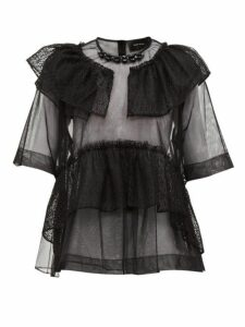Simone Rocha - Beaded Neckline Tulle & Lace Blouse - Womens - Black