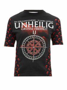 Marine Serre - Upcycled Unheilig-print Jersey T-shirt - Womens - Black Multi