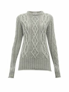 Thom Browne - Stripe Trimmed Cable Knit Merino Wool Sweater - Womens - Grey Multi