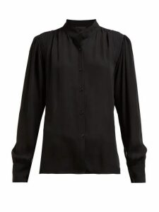 Nili Lotan - Lorena Gathered Crepe Shirt - Womens - Black