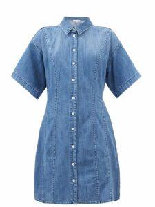 Chloé - Cape Sleeve Tiered Denim Dress - Womens - Dark Denim