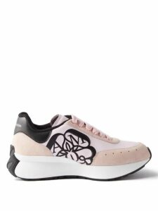 Valentino - High Neck Floral Print Silk Blouse - Womens - Black Red