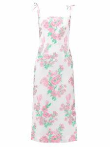 Valentino - V-logo Silk-crepe Blouse - Womens - Ivory Multi