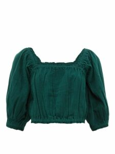 Apiece Apart - Francisca Shirred-trim Cotton Cropped Top - Womens - Dark Green
