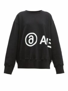 Mm6 Maison Margiela - Logo Print Cotton Sweatshirt - Womens - Black