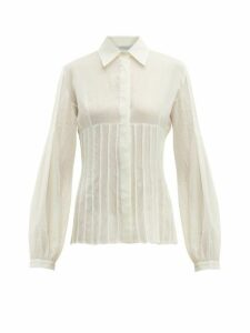 Gabriela Hearst - Gertrude Pintucked Wool-blend Blouse - Womens - Ivory