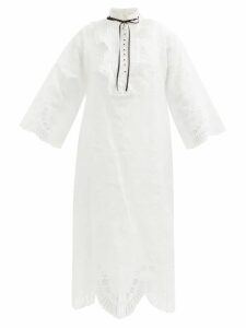 Staud - Contrast-panel Linen Shirt - Womens - Brown