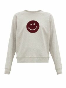 Bella Freud - Happy Flocked Smiley Face Cotton Sweatshirt - Womens - Grey Multi