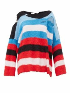 Charles Jeffrey Loverboy - Distressed Intarsia Striped Sweater - Womens - Multi
