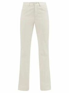Officine Générale - Melody Ruffled-trim Stand Collar Cotton Shirt - Womens - Light Blue