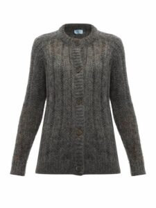 Prada - Open Knit Mohair Blend Cardigan - Womens - Grey