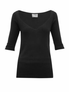 Prada - V Neck Cashmere Blend Sweater - Womens - Black