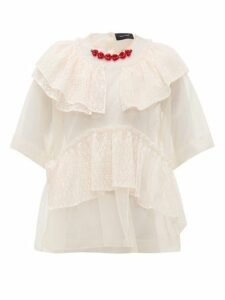 Simone Rocha - Beaded-neckline Tulle And Lace Blouse - Womens - Beige