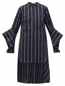 Palmer//harding - Echo Open-cuff Striped Cotton Shirt - Womens - Blue