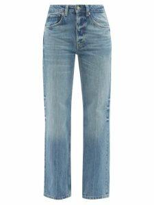 Raey - Shirred Bleached Tiger-print Cotton Maxi Dress - Womens - Black Print