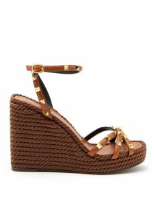 Valentino - Rockstud Leather Wedge Sandals - Womens - Tan