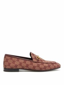 Gucci - Jordaan Gg-jacquard Canvas Loafers - Womens - Burgundy