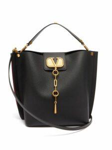 Valentino - Escape V Logo Leather Shoulder Bag - Womens - Black