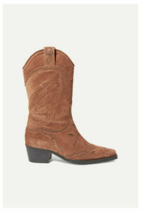 GANNI - High Texas Embroidered Suede Boots - Brown