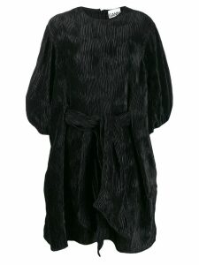 GANNI loose fit pleated mini dress - Black