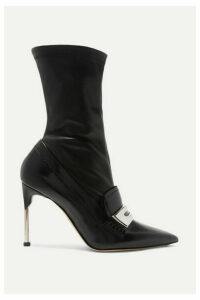 Alexander McQueen - Embellished Patent And Textured-leather Ankle Boots - Black