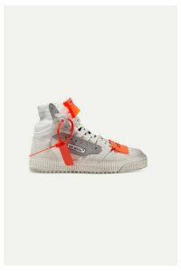 Off-White - Off Court Logo-embellished Distressed Suede, Canvas And Leather High-top Sneakers - IT36